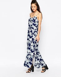 Motel Carri Maxi Dress In Dahlia Print Dahlia Navy