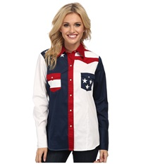 Roper Pieced Stars And Stripes Patriotic Blue Women's Long Sleeve Button Up