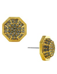 Louise Et Cie Gold Plated Pave Octagon Post Earrings