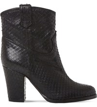Dune Padbury Reptile Embossed Leather Ankle Boots Black Reptile