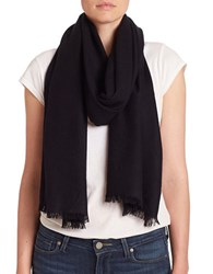 Lord And Taylor Oversize Wool Cashmere Wrap Scarf Black
