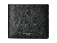 Michael Kors Harrison Cross Grain Leather Billfold W Large Zip Coin Pocket Black Bill Fold Wallet