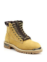 Moschino Zip Front Leather Work Boots Light Brown