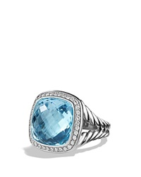 David Yurman Albion Ring With Blue Topaz And Diamonds Blue Silver