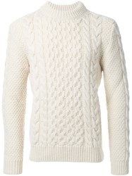 Saint Laurent Classic Fisherman Mock Turtleneck Sweater White