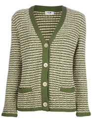 Celine Vintage Striped Knit Sweater Green