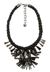 Hallhuber Choker With Cord And Sculptural Blossoms Black