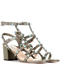 Valentino Rockstud Rolling Leather Sandals Green