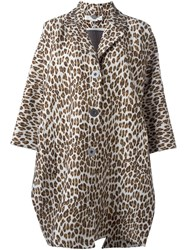 Stella Mccartney Oversize Leopard Print Coat Nude And Neutrals
