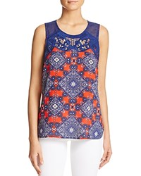Daniel Rainn Crochet Inset Printed Tank Red