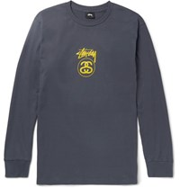 Stussy Slim Fit Printed Cotton Jersey T Shirt Navy