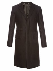 Givenchy Notch Lapel Wool Blend Overcoat Black
