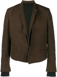 Haider Ackermann Short Linen Jacket Brown