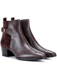 Tod's Suede And Leather Ankle Boots Brown