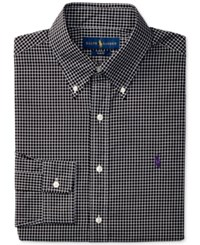 Polo Ralph Lauren Men's Classic Fit Plaid Dress Shirt Black White Plaid