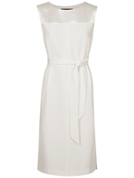 Jaeger Pleated Back Belted Dress Ivory