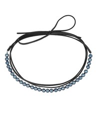 Laundry By Shelli Segal 8Mm Faux Pearl Wrap Choker Necklace Grey