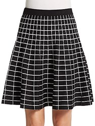 Saks Fifth Avenue Black Grid Jacquard Fit And Flare Skirt Black Ivory