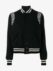 Saint Laurent Classic Wool Blend Stripe Teddy Jacket Black White Salmon