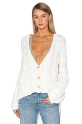 For Love And Lemons Knitz Greenwich Cardigan White