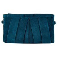 Jacques Vert Suede Clutch Bag Dark Green