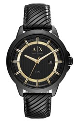 Armani Exchange Men's Ax Ribbed Leather Strap Watch 44Mm