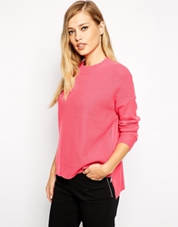 Whistles Bea Jumper In Cashmere Mix With Zip Back Pink