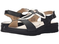 Drew Shoe Alana Black White Leather Women's Sandals Multi