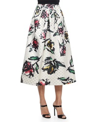 Phoebe Couture Floral Print Jacquard Tea Length Skirt