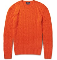 Polo Ralph Lauren Cable Knit Cashmere Sweater Orange
