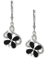 Macy's Onyx 1 1 2 Ct. T.W. And Diamond Accent Flower Drop Earrings In Sterling Silver