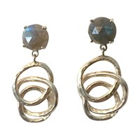 Irini Twisted Labradorite Drop Earrings Silver