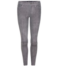Current Elliott The Stiletto Suede Cropped Skinny Trousers Grey
