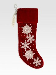 Sudha Pennathur Embroidered Snowflakes Velvet Stocking No Color