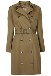 Topshop Cotton Trench Coat Khaki