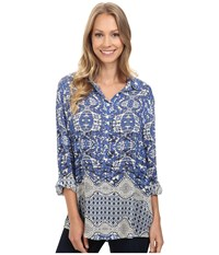 Dylan By True Grit Bohemian Tunic Indigo Women's Clothing Blue