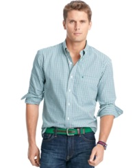 Izod Long Sleeve Essential Tri Color Gingham Shirt Verdant Green