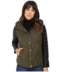 Blank Nyc Puffy Jacket With Hood In Face To Face Green Women's Coat