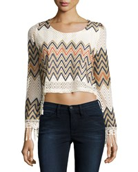 Romeo And Juliet Couture Zigzag Crochet Crop Top W Fringe Ivory Multi