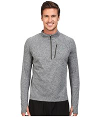 The North Face Impulse Active 1 4 Zip Pullover Tnf Medium Grey Heather Climbing Ivy Green Heather Men's Long Sleeve Pullover Gray