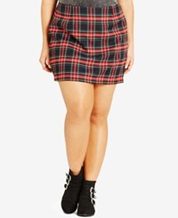 City Chic Plus Size Plaid Mini Skirt Black