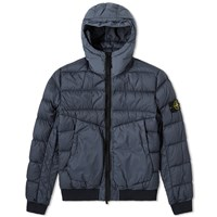 Stone Island Garment Dyed Short Down Jacket Blue