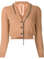 N 21 No21 Embellished Cropped Cardigan Nude And Neutrals