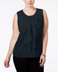 Charter Club Plus Size Ruffled Sleeveless Top Only At Macy's Deepest Navy