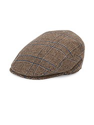 Saks Fifth Avenue Plaid Newsboy Cap Brown Plaid