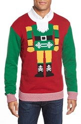 Men's Ugly Christmas Sweater 'Nutcracker Face' Holiday Crewneck Sweater