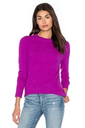 White Warren Hi Lo Crew Neck Sweater Fuchsia