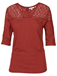 Fat Face Rosside Lace Tee Burnt Sienna