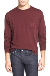 Vineyard Vines Men's 'Vintage Whale' Long Sleeve Pocket T Shirt Crimson