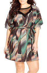 Plus Size Women's City Chic 'Sheer Tribal' Print Dolman Sleeve Tunic